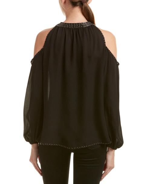 Love Sam Cold-Shoulder Silk Blouse~1411238665