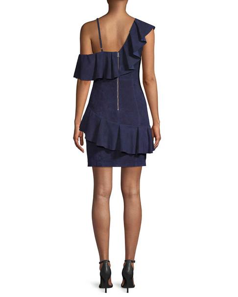 Alice + Olivia Suede One-Shoulder Ruffle Dress~1411369984