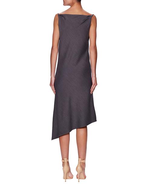 Pure Navy Cowl Asymmetric Slip Dress~1411533920