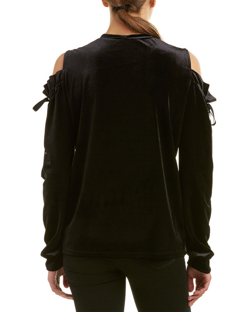 Samantha Dru Cold-Shoulder Tie Top~1411537502