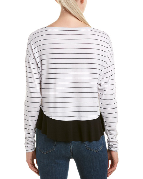 Three Dots Pinstripe Ruffle Top~1411676439