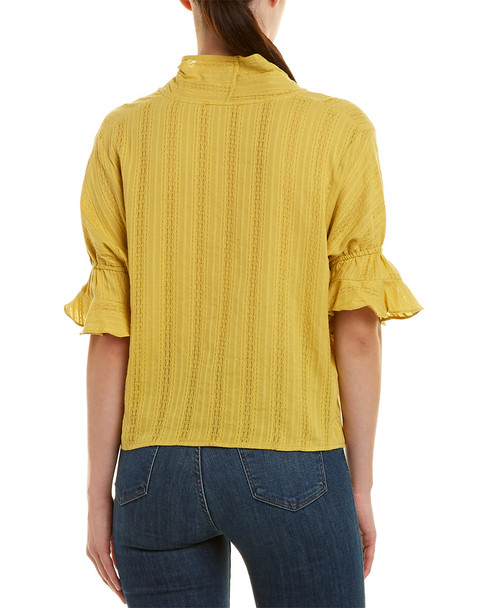 Glam Button Down Neck Tie Ruffle Sleeve Top~1411742041