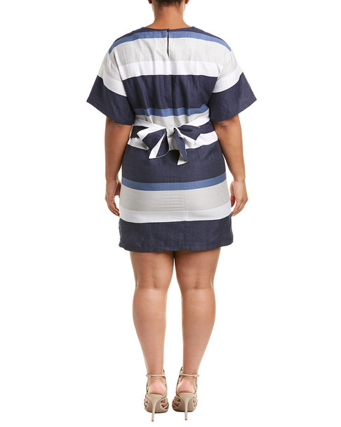 ELVI Striped Linen-Blend Shift Plus Dress~1411754922
