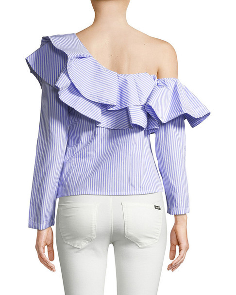 RENVY One-Shoulder Ruffle Top~1411775410