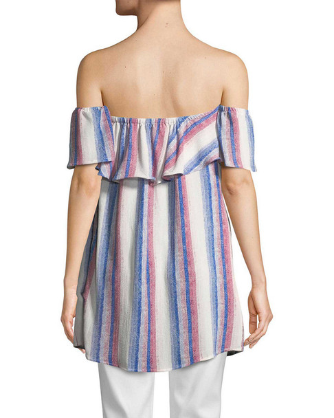 RENVY Striped Off-the-Shoulder Tunic~1411775893