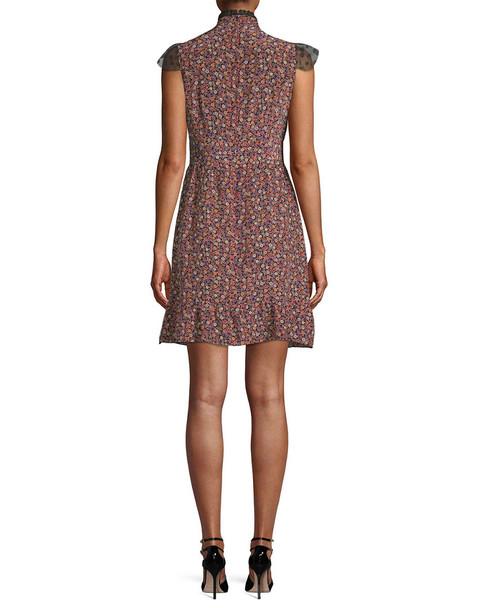 Anna Sui Woodland Flowers Mesh Yoke Mini Dress~1411804612