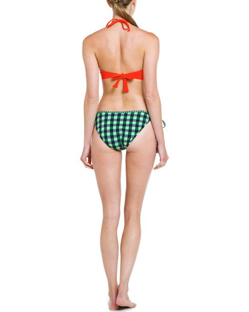 Shoshanna Neon Green Gingham Ruffle String Bottom~1414248265