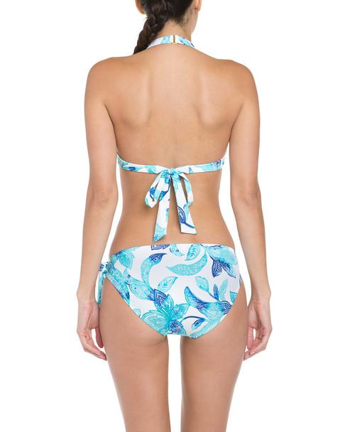 Helen Jon Belize Aqua & Indigo Paisley Floral Print Side-Tie Hipster Bottom~1414442502