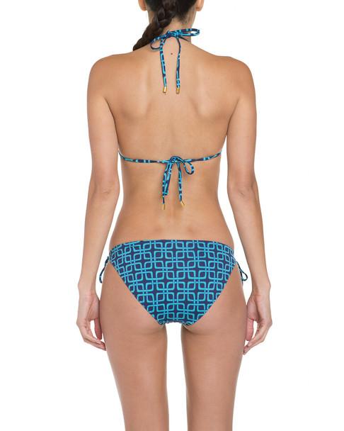 Helen Jon Capri Navy & Turquoise Geometric Print String Bottom~1414442507