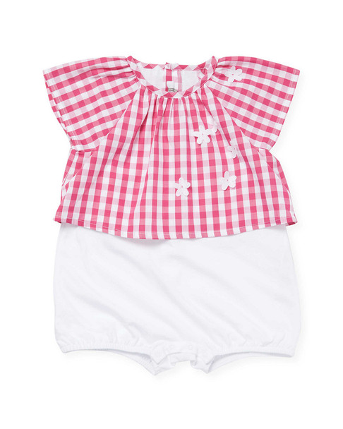 Il Gufo Two-Piece Gingham Top and Bloomer Set~1511788231