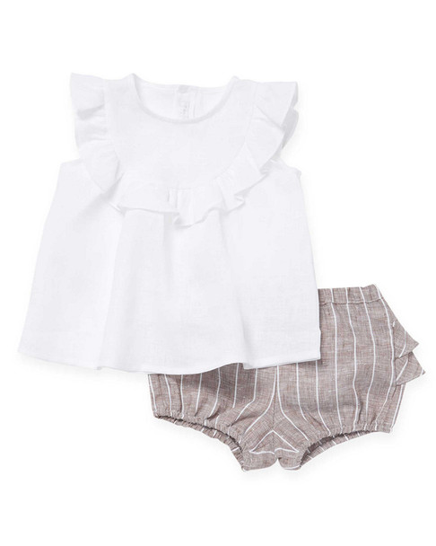 Il Gufo Two-Piece Blouse and Short Set~1511788233