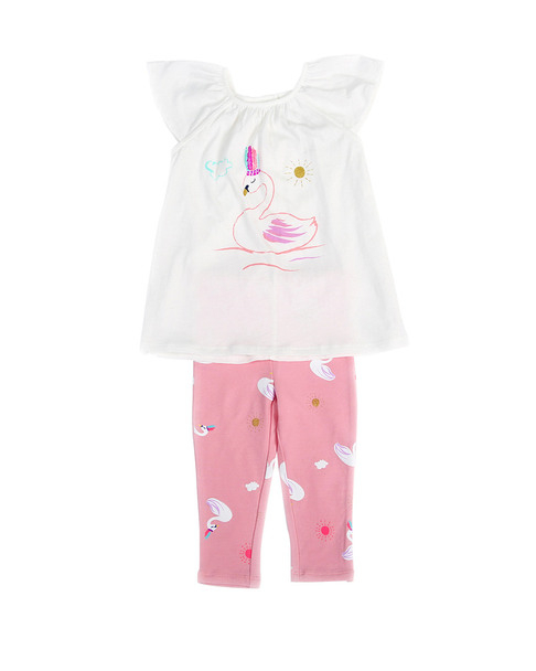 Egg Kelly Swan Print Top & Pant Set~1511802099