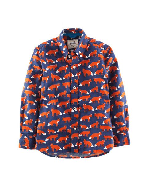 Boden Boys' Cobalt & Fox Printed Shirt~1511838507