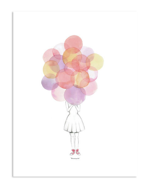Bloomingville Mini Girl with Balloons Poster~3050824340