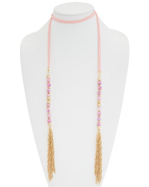 Madeleine Elizabeth Agate Lariat Tassel 47in Choker Necklace~6030404721