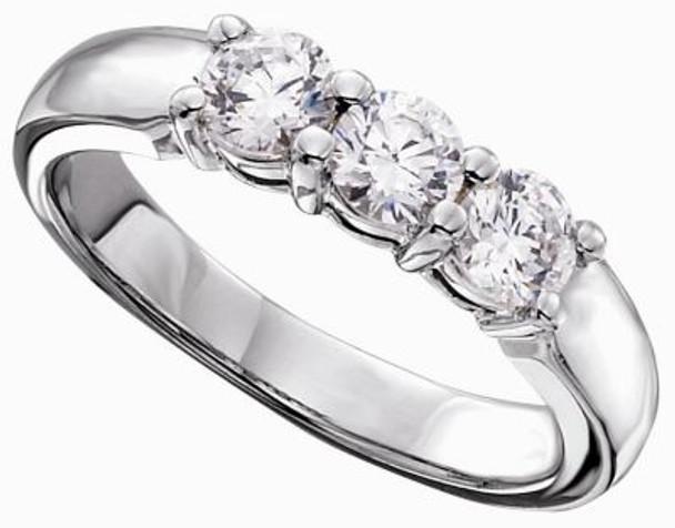 Women's Classic 3 Stone Shared Prong Matching Diamond Band - 3/4 ct tw-47510
