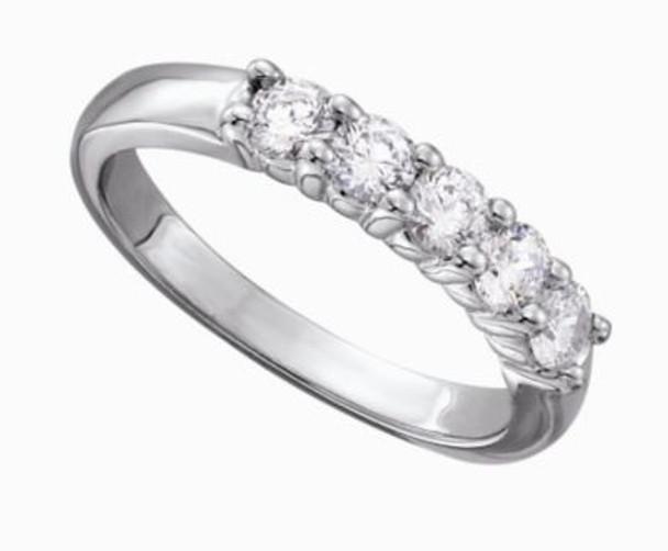 Women's Classic 5 Stone Shared Prong Diamond Band - 3/4 ct tw-47523