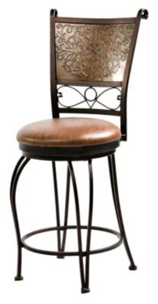 "Bronze with Muted Copper Stamped Back Counter Stool, 24"" Seat Height-254048"