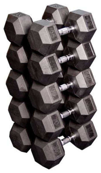 55 - 75 lb. Paired Rubber Coated Hex Dumbbell Set-264031