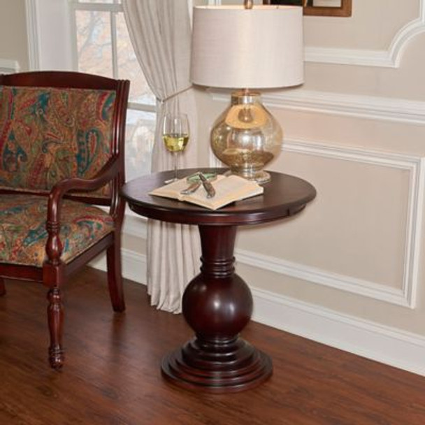 Espresso Round Accent Table-266348