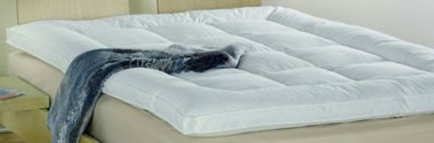 """2.5"""" Bordered Baffle Box Featherbed - 75% White Duck Feather/25% Snow White Down-430155"""