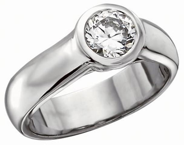 Women's Fashion Forward Full Bezel Solitaire Diamond Engagement Ring - 1/2 ct tw-610528
