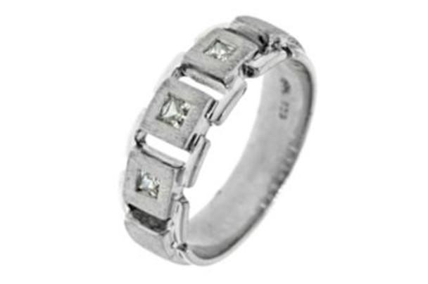 Men's 5 Cecrets Princess Cut 3 Stone Burnish Set Diamond Band  - 3/8 ct tw-610894