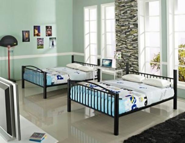 Heavy Metal Black Full Over Full Bunk Bed-658980
