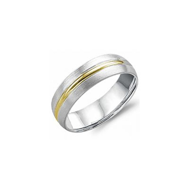Carved 6MM 14k White & Gold Wedding Band  -680878