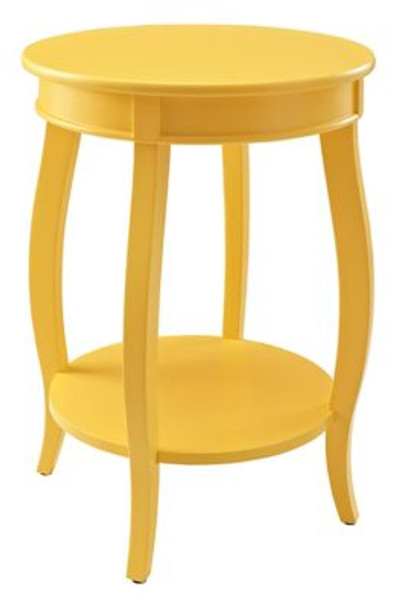 Yellow Round Table with Shelf-1055605