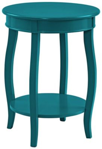 Teal Round Table with Shelf-1055616