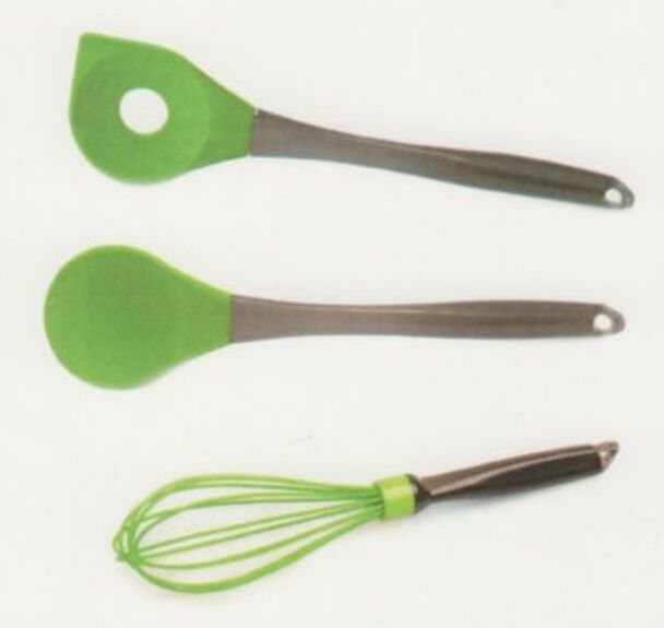 Geminis 3 Piece Green Spoon & Whisk Set-1858234