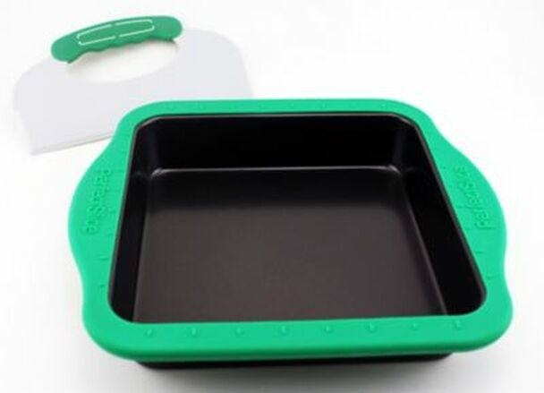 Perfect Slice Square Cake Pan with Silicone Sleeve & Tool-2237705