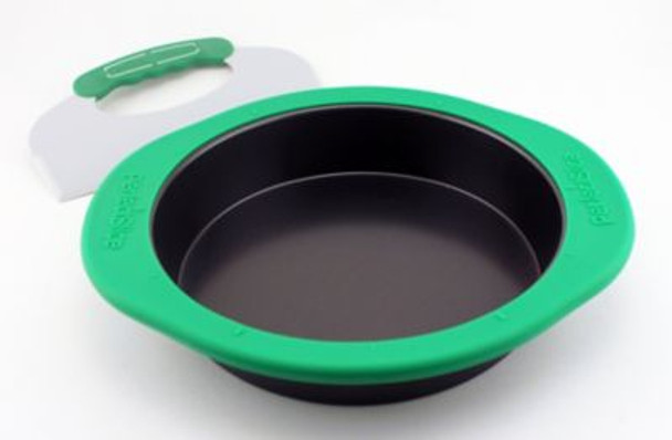 Perfect Slice Round Cake Pan with Silicone Sleeve & Tool-2237706