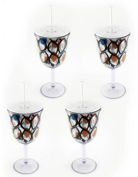 Acrylic Wine Glass-Circle Pattern-Set of 4-2237713