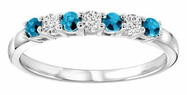 Blue Topaz & Diamond Ring-2506462