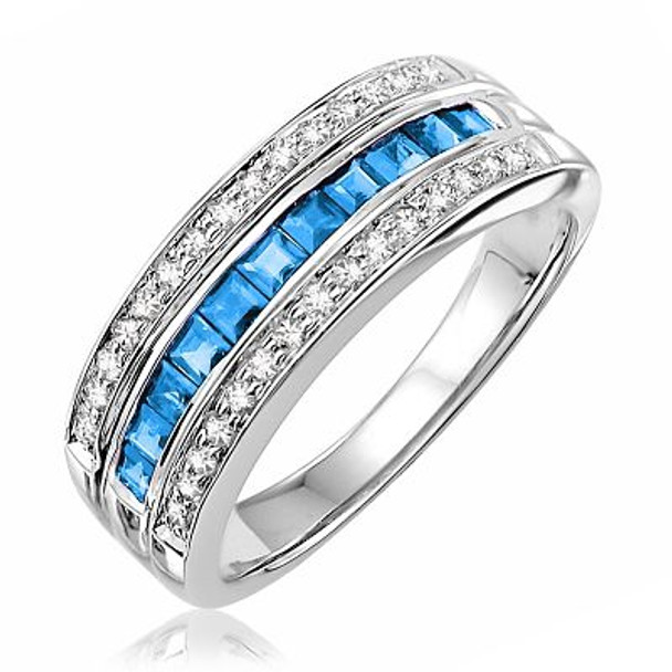 Blue Topaz & Diamond Ring-2506465