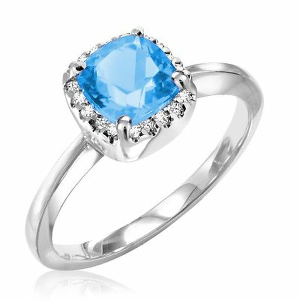 Blue Topaz & Diamond Ring-2506468