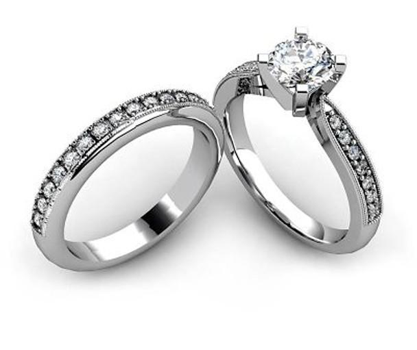 14K White Gold Diamond Engagement Ring & Wedding Band-2506470