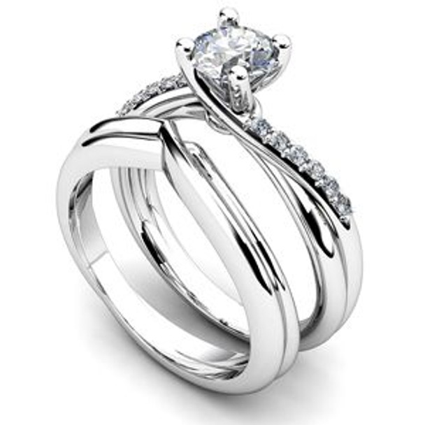 14K White Gold Diamond Engagement Ring & Wedding Band-2506480