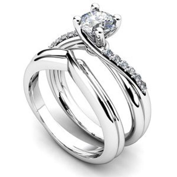 14K White Gold Diamond Engagement Ring & Wedding Band-2506482