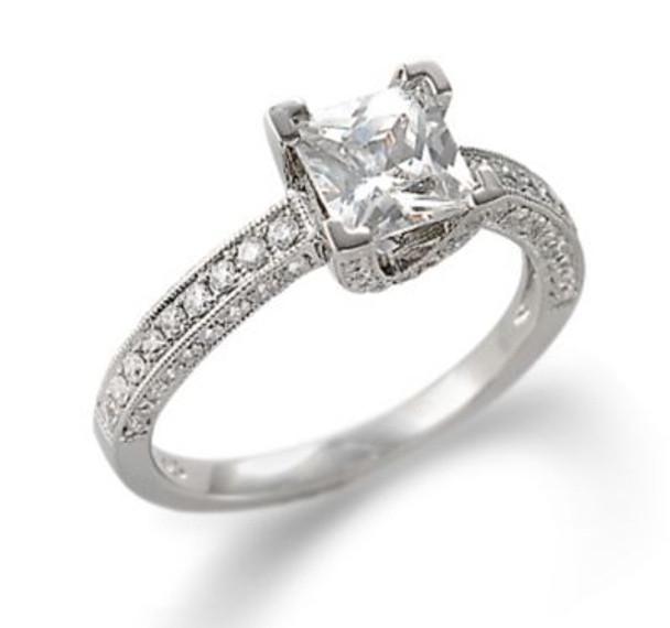 14K White Gold Princess Cut Diamond Engagement Ring-2506483