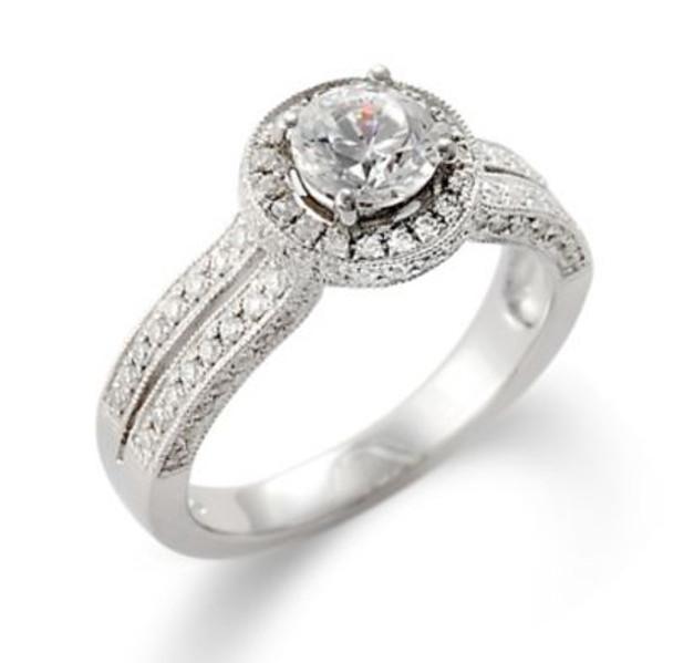 14K White Gold Diamond Engagement Ring-2506484