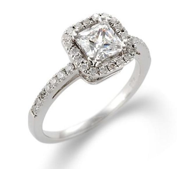 14K White Gold Princess Cut Diamond Engagement Ring-2506485