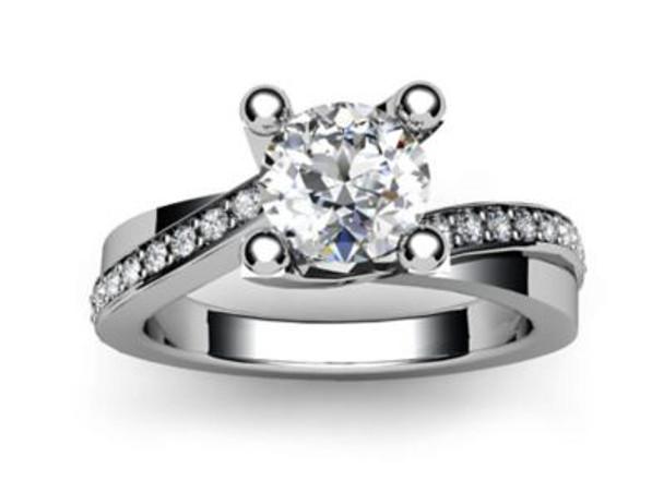 14K White Gold Diamond Engagement Ring-2506487