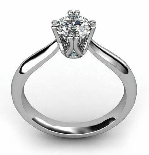 14K White Gold Diamond 8-Claw Engagement Ring-2506497