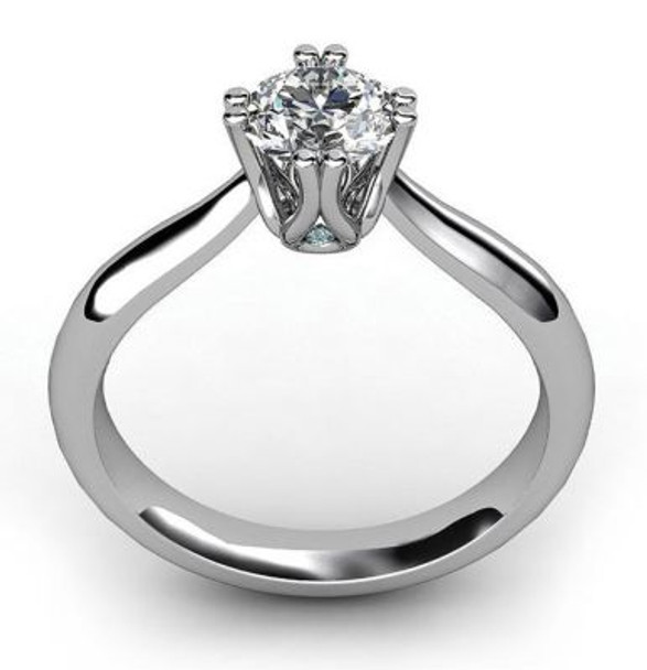 14K White Gold Diamond 8-Claw Engagement Ring-2506499