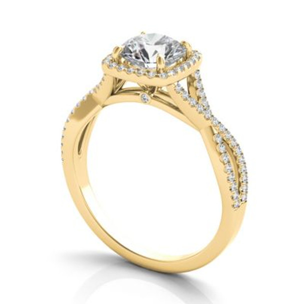 14K Yellow Gold Diamond Halo Engagement Ring-2506506
