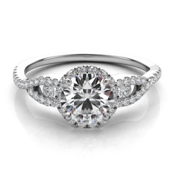 14K White Gold Diamond Halo Engagement Ring-2506508