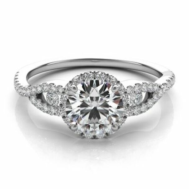 14K White Gold Diamond Halo Engagement Ring-2506509